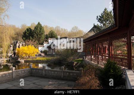Gärten der Welt  (Gardens of the World). Chinese garden. Berlin, Germany. - Stock Photo