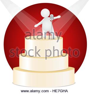 Performance on gold stage in spotlight. Artist person. - Stock Photo