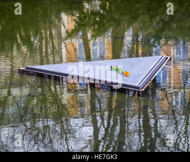 Berlin, Pond of Memorial to the Sinti and Roma people of Europe murdered under National Socialism - Stock Photo