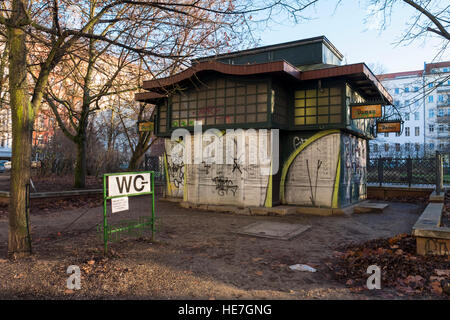 Old Toilet building exterior, public convenience, WC, loo, lavatory in park. Arkonaplatz, Mitte, Berlin - Stock Photo