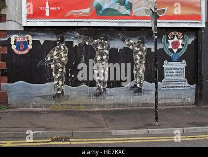 UFF Unionist mural, off Shankill Road West Belfast,Northern Ireland,UK - UDA / UFF - Stock Photo
