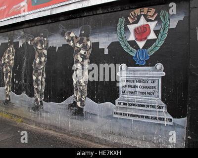 UFF Unionist mural in memory, off Shankill Road West Belfast,Northern Ireland,UK - Stock Photo