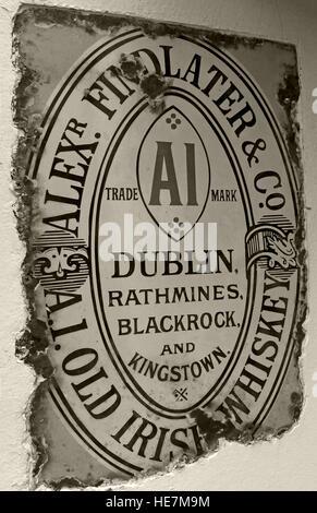 A1 Findlater Old irish Whiskey Metal Sign, Belfast, Northern Ireland,UK - Stock Photo