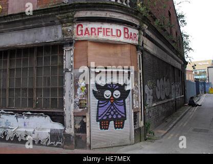 Belfast Garfield St Owl graffiti - Garfield Bar City Centre, Northern Ireland, UK - Stock Photo