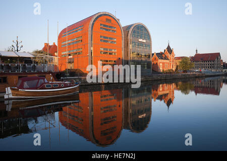 Mbank SA buildings in city of Bydgoszcz in Poland, bank headquarters, contemporary, modern office buildings at Brda - Stock Photo