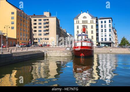 Old Relandersgrund lightship, now famous restaurant in Helsinki, Finland - Stock Photo
