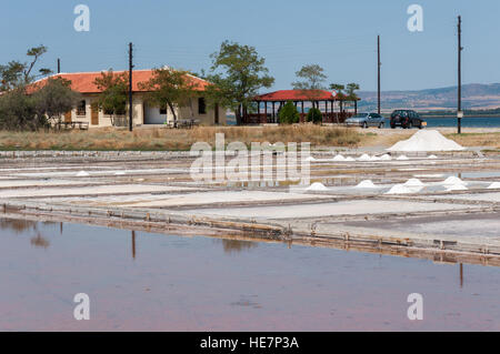 Exterior of the Museum of Salt in Pomorie, Bulgaria, and salt production through natural evaporation of sea water - Stock Photo