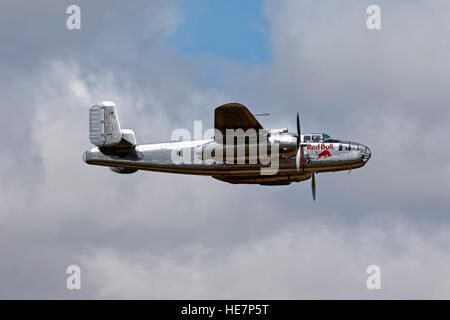 A North American B-25J Mitchell, Reg N6123C, of 'The Flying Bulls' based at Salzburg Airport in Austria pictured - Stock Photo