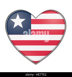 3d rendering of a Liberia flag on a heart. White background - Stock Photo