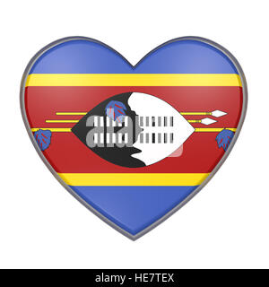 3d rendering of a Swaziland flag on a heart. White background - Stock Photo