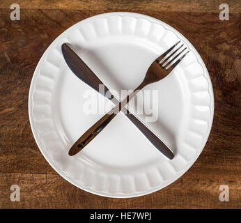 Intermittent Fasting Cross Knife and Fork on Plate