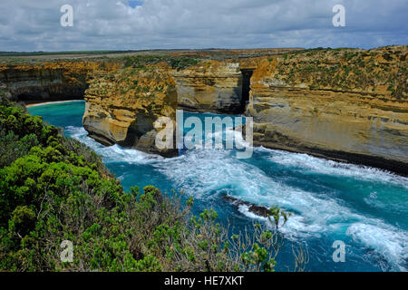 The Loch Ard Gorge on the Great Ocean Road in the Australian state of Victoria - Stock Photo