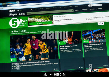 The website of BBC Radio 5 Live Sports Extra. - Stock Photo