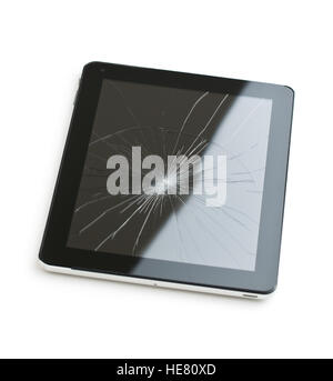 Tablet computer with broken screen isolated on white background. - Stock Photo