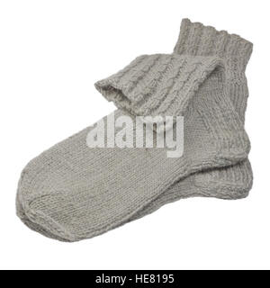 Warm gray knitted woolen socks, large detailed isolated macro closeup, grey wool melange pair detail - Stock Photo