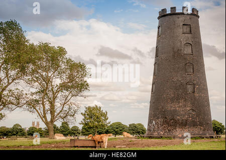 The Black Mill on Beverley Westwood, outside the town of Beverley in the East Riding of Yorkshire - Stock Photo
