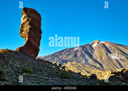 Famous Finger Of God rock in Teide national park. Tenerife island - Canary, Spain - Stock Photo