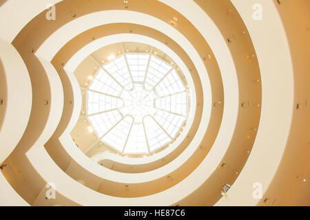 The Spiral Rotunda inside the Guggenheim Museum, Fifth Avenue, Manhattan, New York City, United States of America. - Stock Photo