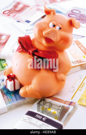 Pig as a symbol of good luck sitting on Euro banknotes - Stock Photo