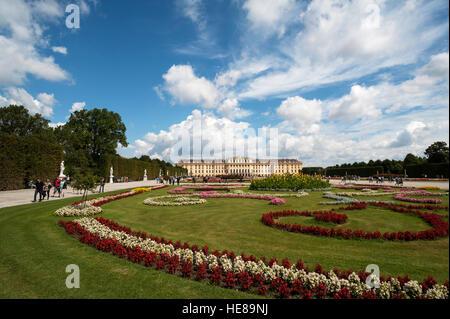 Flower bed in park, Schönbrunn Palace, Vienna, Austria - Stock Photo