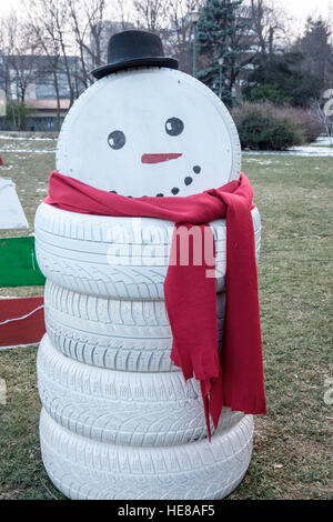 Snowman made from tires stock photo royalty free image for Snowmen made from tires