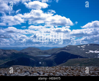 Loch Etchachan Carn Etchachan Derry Cairngorm in the background from Cairn Gorm Cairngorm mountains Grampian Scotland - Stock Photo