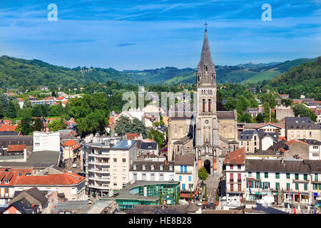 Aerial view on Church of the Sacred Heart in Lourdes, Hautes-Pyrenees, France - Stock Photo