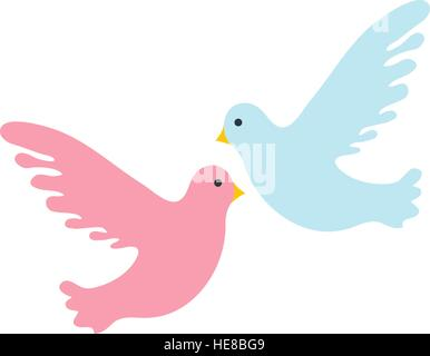 Couple pigeons icon, flat design. Isolated on white background. Vector illustration, clip art. - Stock Photo