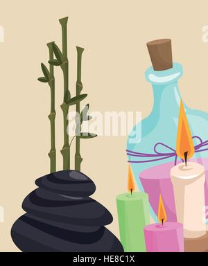 spa therapy lotion aroma candle hot stone - Stock Photo