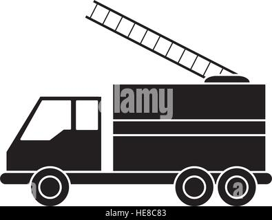 silhouette truck fire rescue urgency attention - Stock Photo