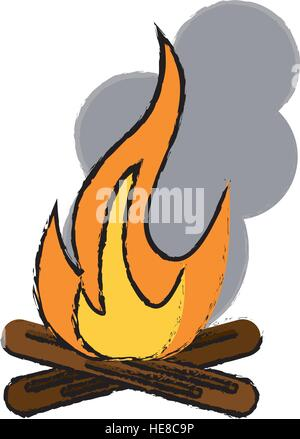 drawing campfire woods camping - Stock Photo