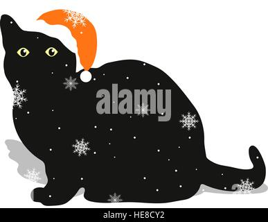A black cat in a red hat sitting on white winter background with snowflakes. - Stock Photo