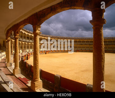 Ronda Bull Ring and storm clouds, Malaga Province, Andalusia, Spain. - Stock Photo