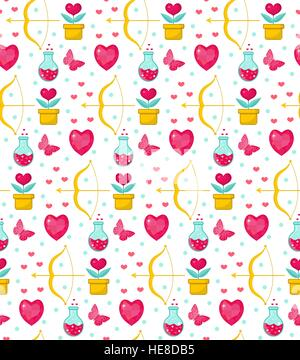 Cute seamless pattern Valentines Day with flowers, bow cupid, love potion, romance endless background, texture, - Stock Photo
