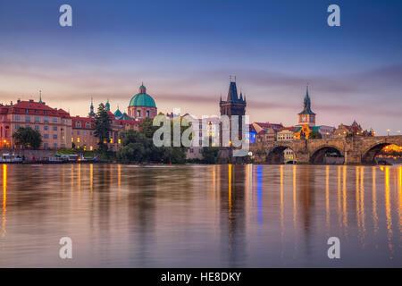 Prague at sunrise. Cityscape of Prague, Czech Republic during sunrise. - Stock Photo