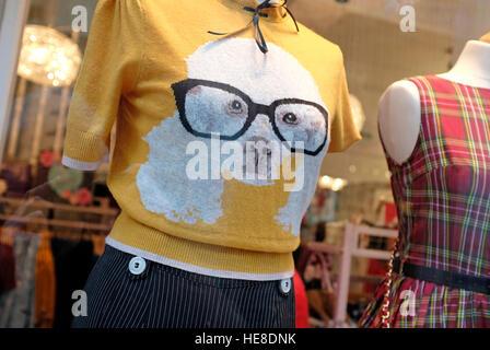 dog pattern on jumper in shop window display - Stock Photo