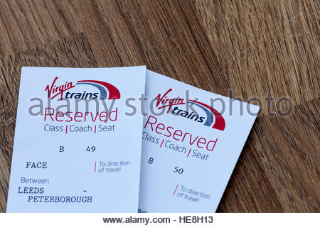 Seat reservation tickets for Virgin trains - Stock Photo