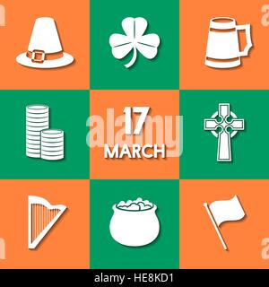 Set of icons, related to St. Patrick's Day. Modern flat design, background in the colors of the national flag of - Stock Photo
