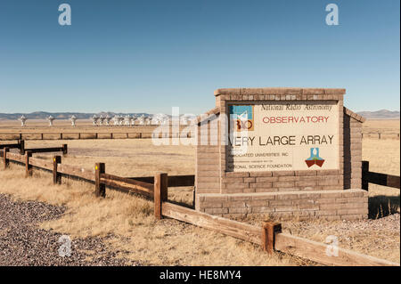Entrance sign at the Very Large Array (VLA) National Radio Astronomy Observatory in New Mexico, NM, USA. - Stock Photo