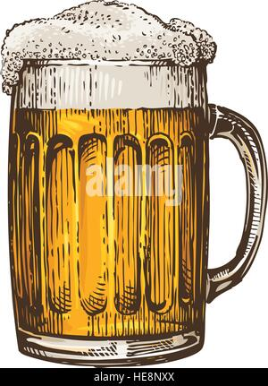 Beer in glass mug with foam. Hand drawn vector illustration - Stock Photo