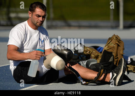 Nicholas Dadgostar, Wounded Warrior athlete, prepares for track and field practice Aug. 3, 2014, at the U.S. Air - Stock Photo
