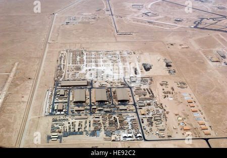 An aerial overhead view of 'Ops Town' at at Al Udeid Air Base (AB), Al Rayyan Province, Qatar (QAT), taken from - Stock Photo