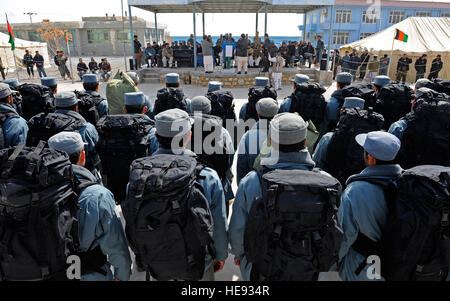Graduates stand in formation during an Afghan National Police graduation at the Qalat Academy, Zabul province, Afghanistan, - Stock Photo