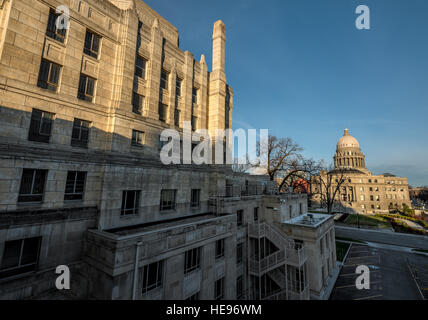 Unique perspective of the Idaho capital building with old courthouse - Stock Photo