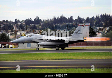 An Oregon Air National Guard F-15C Eagle takes off from the Portland Air National Guard Base Oct. 2, 2010. Staff - Stock Photo