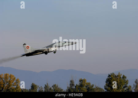 A MiG-29 aircraft takes off for a combat training mission as part of exercise Rodopi Javelin 2007 at Graf Ignattevo - Stock Photo