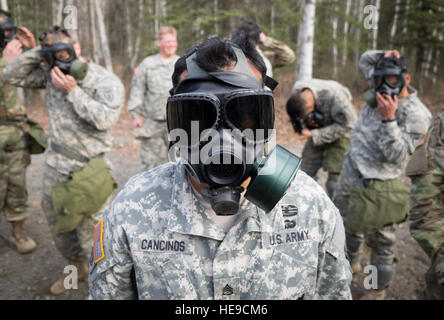 U.S. Army Staff Sgt. Henry Cancinos, assigned to Bravo Troop, 1st Squadron (Airborne), 40th Cavalry Regiment, 4th - Stock Photo