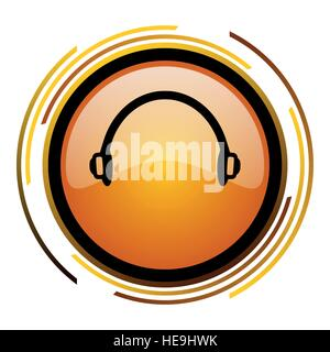 Headphones vector icon. Modern design round orange button isolated on white background for web and applications - Stock Photo