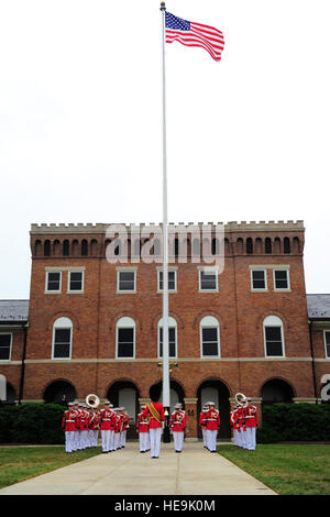 The United States Marine Corps Drum and Bugle Corps, 'The Commandant's Own,' perform at the farewell tribute for - Stock Photo
