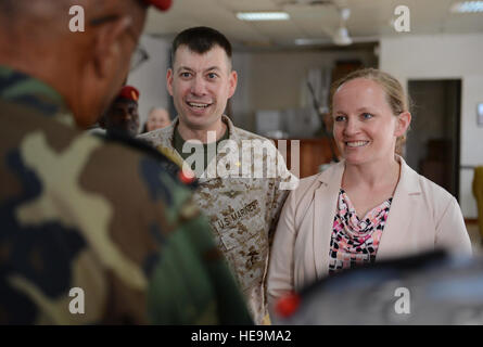 Susan Craig, right, a former U.S. Marine Corps pilot, and Marine Corps Maj. Heath Ruppert, Craig's co-pilot, speak - Stock Photo